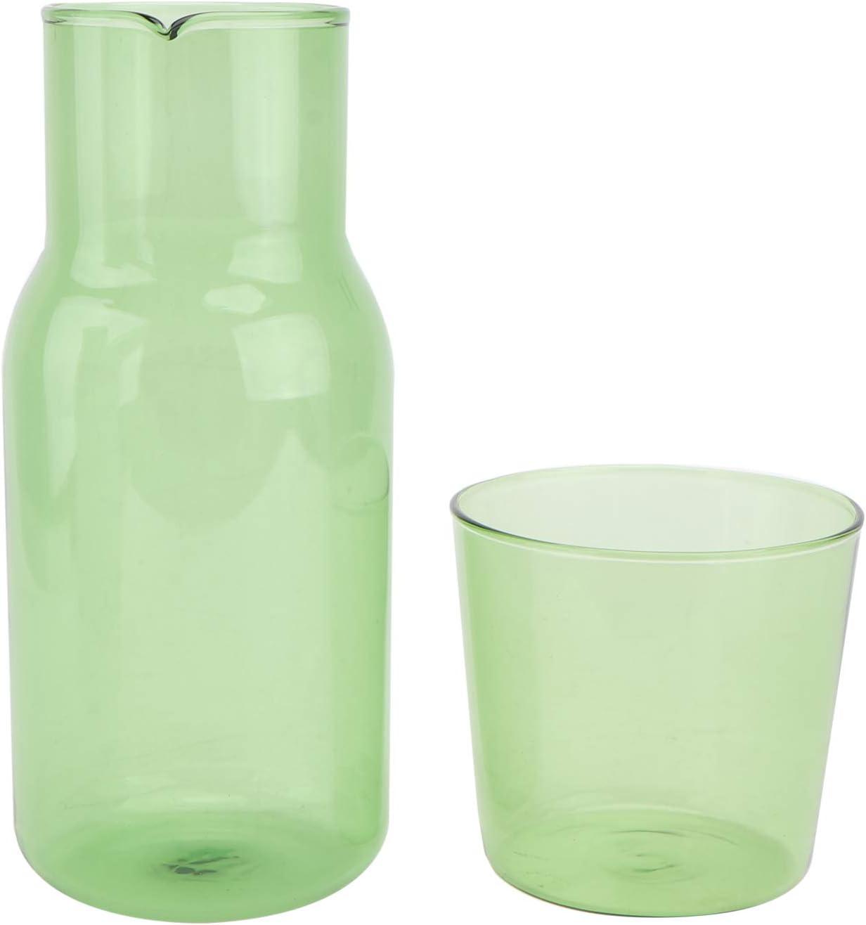 YARNOW 1 Juego de Vidrio para Jarra de Agua de Cabecera Juego de Jarra de Noche con Vaso de Vidrio Verde