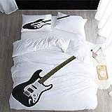 Juego de funda de edredón de 3 piezas, diseño de guitarra, microfibra suave, para dormitorio, habitación de invitados, habitación de los niños