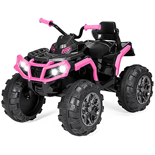 Best Choice Products 12V Kids Ride-On Electric ATV, 4-Wheeler Quad Car Toy w/ Bluetooth Audio, 3.7mph Max Speed, Treaded Tires, LED Headlights, Radio - Pink