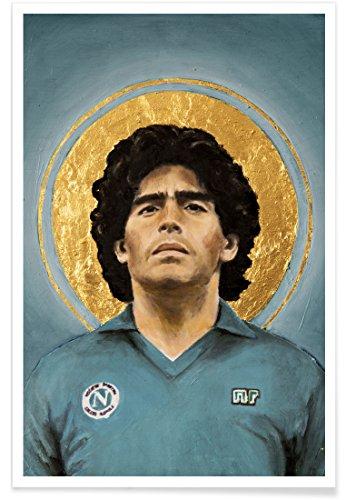 """JUNIQE® Fußball Sportler & Sportlerinnen Poster 60x90cm - Design """"Football Icon - Diego Maradona"""" entworfen von David Diehl"""