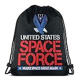 United States Space Force - Borsa portaoggetti con coulisse, lavabile, da viaggio, sport, palestra, uomo e donna, 36 x 43 cm