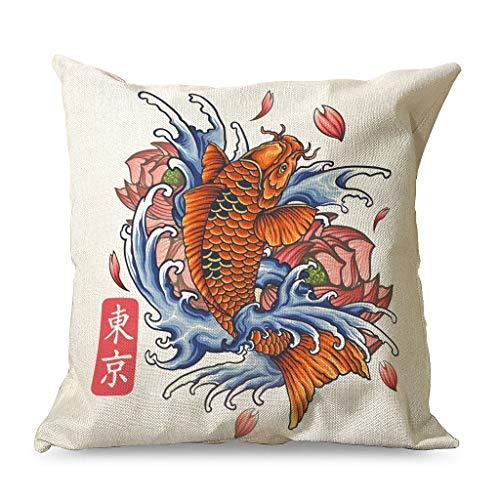 Zhenxinganghu Japón Koi Fisch Tokio - Fundas de almohada para oficina, con cremallera oculta, para siestas, estilo cálido, 45 x 45 cm, color blanco
