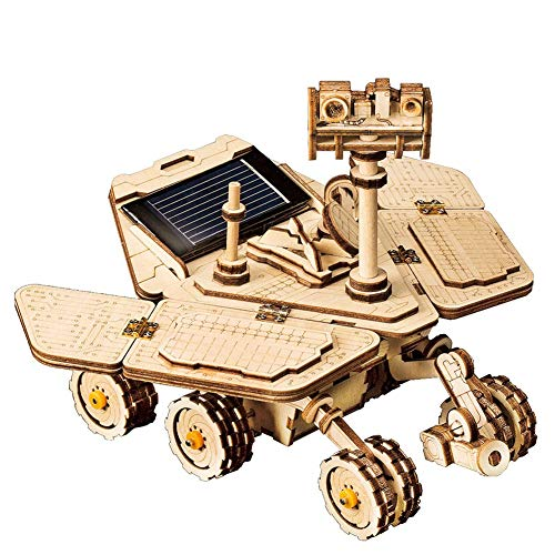 Solar Powered STEM Toys, Laser Cutting DIY Robot Car, Self Assembly Mechanical Construciton Craft for Kids, Teens and Adults, Educational 3D Puzzle Model Kits to Build (Spirit Rover)