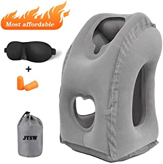 JYSW Inflatable Travel Pillow, Portable Airplane Pillow Multifunctional Neck and Head Support Lap Pillow for Airplanes Trains Buses and Office Napping (Gray)
