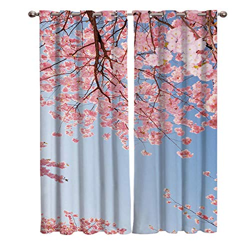 VBUEFM Cortinas Modernas Dormitorio Flores de Cerezo Rosa Azul Blanco 85x200cm x2 Cortinas Opacas Térmicas Aislantes Frío Calor Ruido Luz Rayos para Salón Oficina Dormitorio
