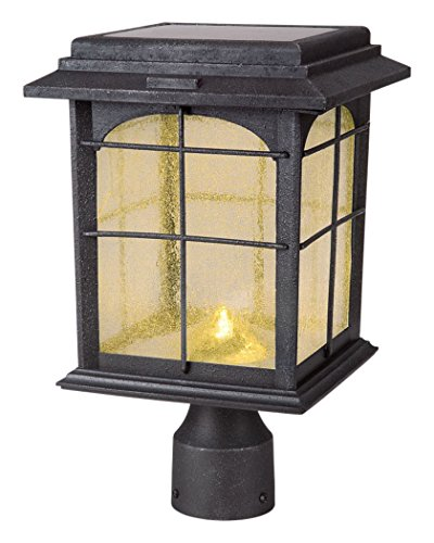 Creative Industries Solar Outdoor Hand-Painted Sanded Iron Post Lantern with Seedy Glass Shade