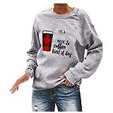 WOZOW Pull Femmes Sweat-Shirt De Noël Cardigan Nouveauté Dames Sweat-Shirts Chemise d'arbre à Col Rond Chemisier Tops(Gris,S)