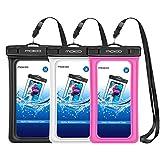 MoKo Floating Waterproof Phone Pouch [3 Pack], Floatable Phone Case Dry Bag