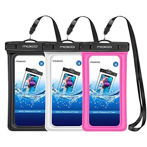 MoKo Schwimmende wasserdichte Schutzhülle, 3 Pack, Universal Handy Tasche, TPU Handyhülle für iPhone 12/12 mini/12 Pro/11/11 Pro/X/Xr/XS Max/8/7/6S Plus, Samsung S9 S8, S7 Edge, Schwarz/weiß/Rot