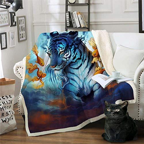 WNxiaobaozi Dekbedovertrekset, warme deken, knuffelige deken, 3D-print, unieke tijger- en goudvisbedekking, sofa, dubbel gooien, grote deken voor op reis 51.18×59.05 in(130×150cm)