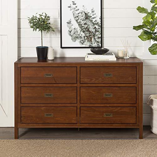 57' Classic Solid Wood 6-Drawer Dresser - Walnut