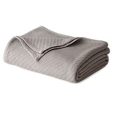 Cotton Craft - 100% Soft Premium Cotton Thermal Blanket - Full/Queen Grey - Snuggle in these Super Soft Cozy Cotton Blankets - Perfect for Layering any Bed - Provides Comfort and Warmth for years