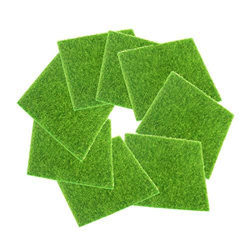 FineInno 8 Hojas Alfombrilla de Césped Artificial Hierba Artificial Tapete Artificial Grass Moss Synthetic Lawn Carpet Fake Turf Mat,No Tóxico, 6x6inch/15x15cm