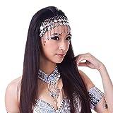 Lauthen.S Women Belly Dance Headband Coins Tribal Headpiece Gypsy Jewelry Costume Accessory,Silver