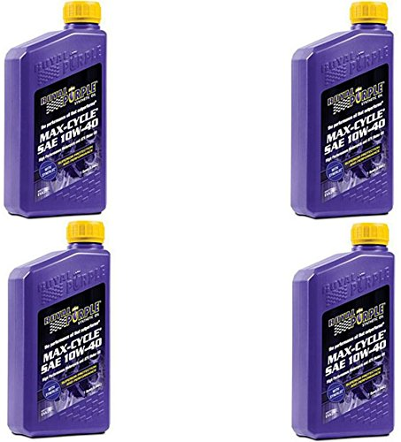 Royal Purple 01315 Max-Cycle Synthetic Motorcycle Oil 10W-40 for Highly Stressed Engines/Transmissions - 1 qt Case of 4