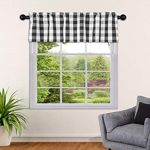 """SEEYE Kitchen Window Valances Buffalo Plaid Curtains Farmhouse Light Filtering Rod Pocket Small Window Tiers Thermal Insulated for Home Bedroom Cafe Decor, 54"""" W x 18"""" H-1 Pcs, Black"""