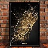 QINGRENJIE Impresiones de Carteles Amsterdam Tokio Barcelona Ciudad del Mundo Moderno Mapa de Oro Tour Pinturas Arte Imágenes de Pared para Sala de Estar Decoración del hogar 42 * 60 cm sin Marco
