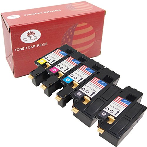 Toner Kingdom High Yield 5PK (2B/1C/1M/1Y) Combo Set Toner Cartridges for Dell 1250c 1350cnw 1355cn 1355cnw C1760nw C1765nf C1765nfw Printer Series, Pages Yield: Black-2,000 & Color-1,400
