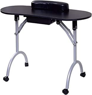 37''L Portable Foldable Manicure Table with Client Wrist Pad and Free Carrying Case, Spa Beauty Salon with Rolling Wheels, Drawer, Sponge, Black