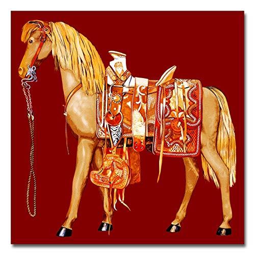 Frameloos Verschillende kleuren Paard Canvas Schilderijen Dieren Posters Foto's Muurafdrukken op canvas voor woonkamer Huisdecoratie <> 50x50cm