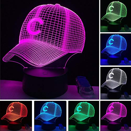 Baseball-Team Led-Kappe 3D Illusion Nachtlicht 7 Farben Visuelle Amerikanische Baseball-Mütze Dekoration Lampe Sport Fan Geschenk