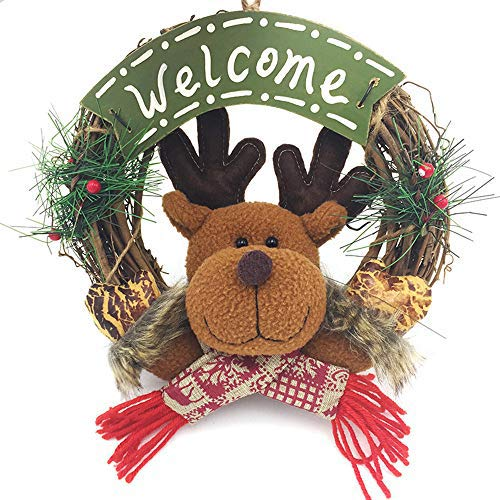 Uteruik Christmas Grapevine Wreath Garland Artificial Reindeer Wreath Christmas Decoration Holiday Indoor Home Decor Door Hanging, 1pcs