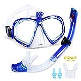 meilianeu Schnorchelset Schnorchelmaske mit Anti-Fog Taucherbrille und Dry Schnorchel inkl....