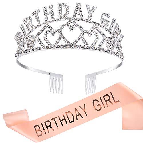 Chengu Geburtstag Glitter Kronen Mädchen Strass Kristall Dekor Stirnband mit Geburtstag Schöne Mädchen Schärpe (Rose Gold)