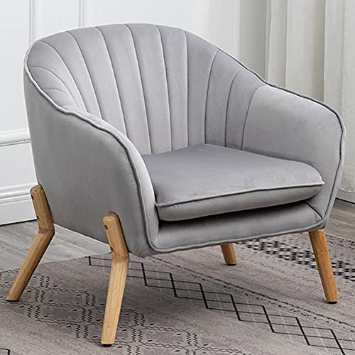 Velvet Accent Chair Grey Single Sofa Upholstered Armchair for Living Room Bedroom Lounge Padded Seat Tub Chair (1)