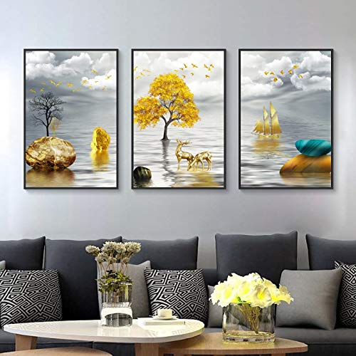 Golden Deer Tree Canvas Printings Abstract Aesthetic Room Decor Landscape Wall Art Picture Spray Painting Poster 70X100cm Frameless