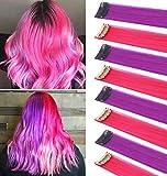 FYHTSD 8PCS 21''Pink & Purple Accesorios de moda Piezas de peluca para niños Extensiones de cabello...