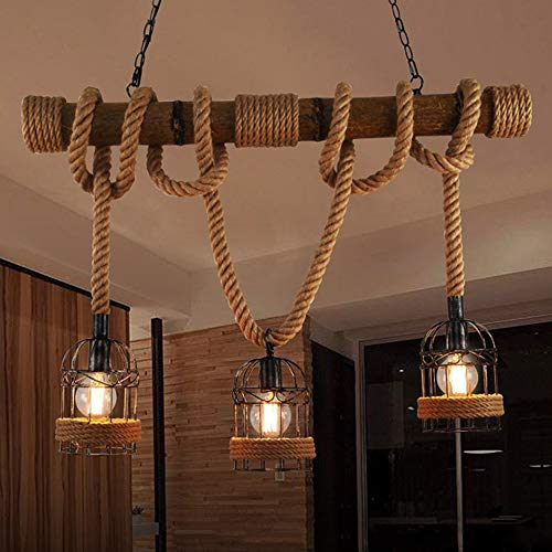 LITFAD Industrial Birdcage Island Light 3 Lights Pendant Light Lantern Style with Rope Cage Frame, Wood Decoration Vintage Chandelier Ceiling Hanging Light for Cafe Bar Restaurant - 31.5\