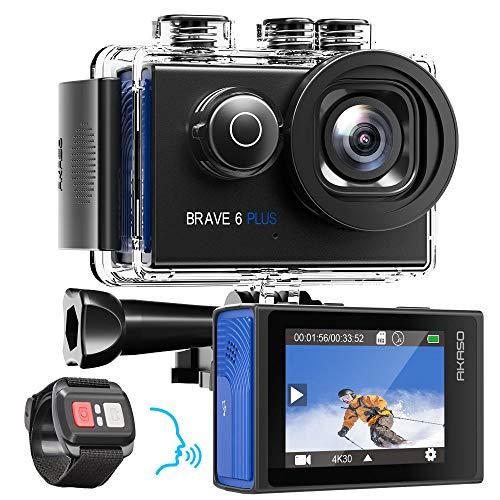 AKASO Action Cam 4K/30fps Action Camera 20MP WiFi Touch Screen Fotocamera subacquea 40m Brave 6 Plus con EIS 8X Zoom vocale telecomando casco, kit accessori fotocamera sportiva 2 batterie 1350mAh