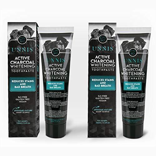 Aktivkohle Zahnpasta Zahnaufhellung 2 Pack Natürliche Zahnpasta Kohle Zahncreme Zahnaufhellung Aktivkohle für Weiße Zähne Activated Teeth Whitening Toothpaste