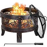 Yaheetech Feuerschale Bronzefarbe Feuerstelle mit Blumen- und Grasmustern, Garten Feuerkorb Ø 66,5 cm Camping Fire Pit mit Funkenschutzgitter und Schürhaken