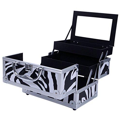 "Aluminum Makeup Train Case Jewelry Box Cosmetic Organizer with Mirror 9""x6""x6"" White Zebra"