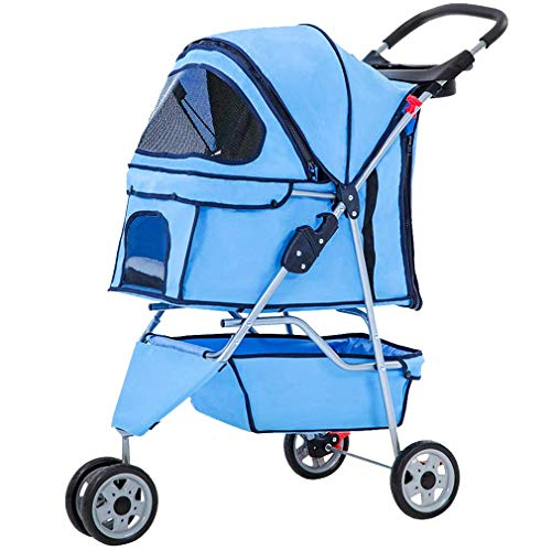 Pet Stroller cat and Dog cage 3-Wheel Stroller Travel Folding Baby Stroller with Large Storage Basket and Cup Holder, Suitable for Small and Medium...