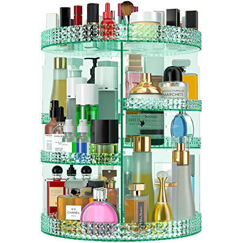 HEMTROY Rotating Makeup Organizer 360 Degree, 7 Layers Adjustable Storage For Cosmetics,Perfume,Plus Size, Large Capacity Cosmetic Storage Organizer Best for Bathroom,Countertop and Vanity (Green)