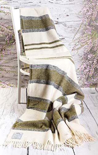 Manta de lana de merino, manta 100% lana merino, lana de cordero, 160 x 200 cm (melocotón)