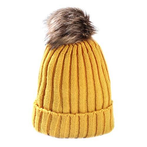 LUOEM Leuke peuter beanie baby winter warme zachte gebreide muts familie haak beanie cap met pom pom (geel)