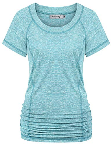 Ninedaily Yoga Tops for Women Loose Fit,Long Tunics Top for Yoga Pants Pilates Crop Stay at Home Casual Shirts Athletic Sport Activewear O Neck Open Back Details Cool Summer T-Shitrs Aqua XXL