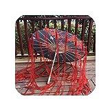シルク布レース傘女性衣装写真の小道具タッセル付き傘糸中国古典油紙傘日傘、Q黒B
