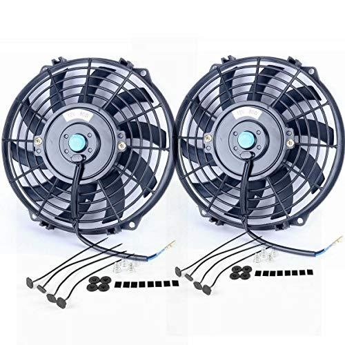 """Upgr8 2 Pack Universal High Performance 12V Slim Electric Cooling Radiator Fan With Fan Mounting Kit (9"""" 2-Pack) Idaho"""