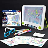3D Kids Magic Pad Light,Up Drawing Board Pa,with Light Up Glow for Translucent See-Through Surface And Stand 4 Fluorescent Markers with 3D Glasses - Gift For Kids/ Boys& Girls Ages 3 -12 Years Old