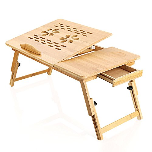 Zipom 100% Portable Bamboo Laptop Stand Foldable Desk Notebook Table Laptop Bed Tray Bed Table, Flower Style design, play games on bed Table with Drawer (flower-21.5in)