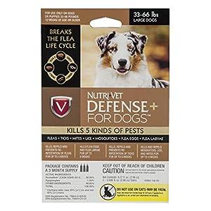 Nutri-Vet Defense Plus Flea & Tick Control for Large Dogs, 33 lb-66 lb, Model: 1030239