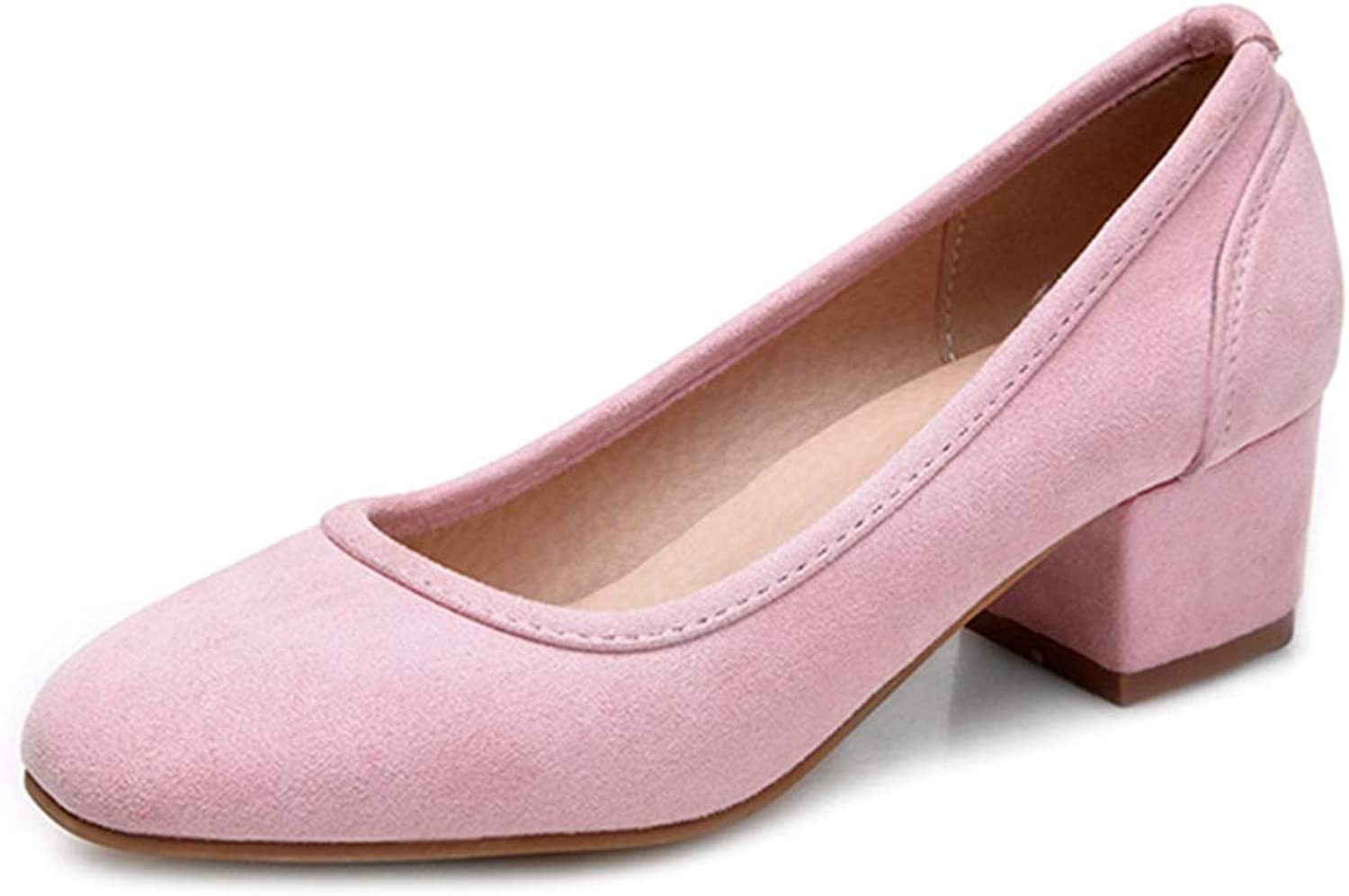 GIY Suede Oxfords Pumps for Womens, Slip-On Square Toe Chunky Block Mid Heels Loafers shoes Casual Work Pump