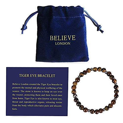 Believe London Tiger Eye Bracelet with Jewellery Bag & Meaning Card Strong Elastic Precious Natural Stones Crystal Healing Gemstone Men Women Meditation