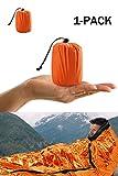 Shayson Saco de Emergencia Dormir,Aislamiento Térmico, Exterior Brillante Naranja Fácil de Localizar Portátil,para Acampar Supervivencia Al Aire Libre 1 Pack