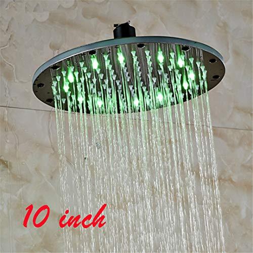 Best Deals! Bestyunyu Luxury Oil Rubbed Bronze 8/10/12/16 Inch LED Shower Head Round Rain Over-Head ...
